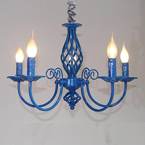 (LightInTheBox Vintage Retro 5-Light Chandelier Candle Light Lamp for Hallway,Bedroom,Kitchen,Kids Room,5X45W LED Bulb (Blue))