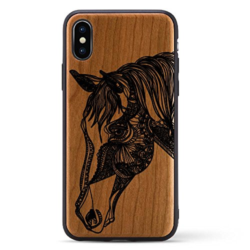 Black Print Cherry Wood Case For iPhone X/10 2017 version Compatible with New iPhone X Rubber Grip Bumper Screen Protection Natural Wood | Model - Usps Does Priority Have Tracking