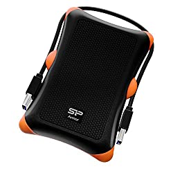 Silicon Power 1TB Rugged Armor A30 Shockproof Standard 2.5-Inch USB 3.0 Military Grade  Portable External Hard Drive,Black