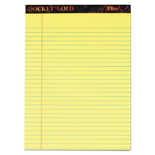 Stitched 50 Top Double Sheets (TOPS 63950 Docket Ruled Perforated Pads, 8 1/2 x 11 3/4, Canary, 50 Sheets (Pack of 12))