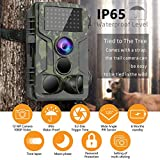 STARLIKE Trail Camera 1080P Waterproof Hunting Scouting Cam for Wildlife Monitoring with Motion Activated Night Vision up to 65ft/20m, 120°Detect Range, 36pcs 940 Infared LEDs, 0.3s Trigger Speed