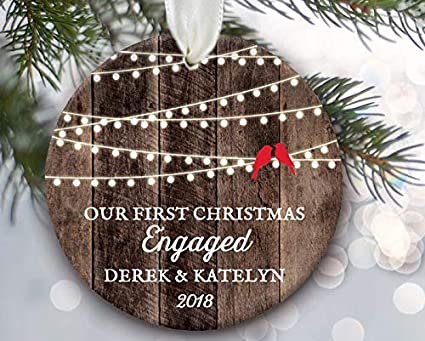 Amazon Com Lovebirds Our First Christmas Engaged Ornament