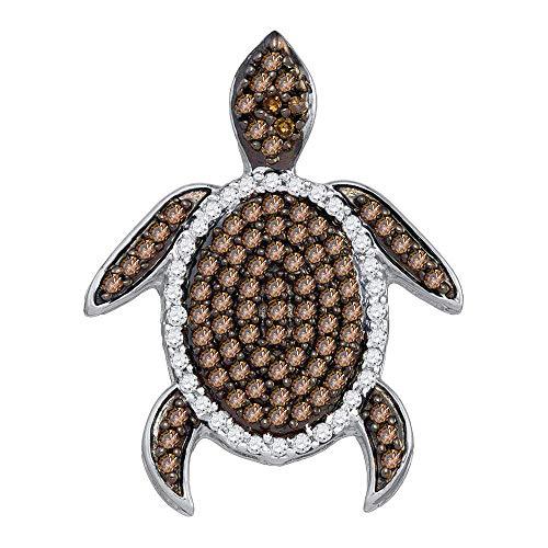 Jewel Tie Solid 10k Yellow Gold Round Chocolate Brown Diamond Sea Turtle Tortoise Pendant (1/3 ()