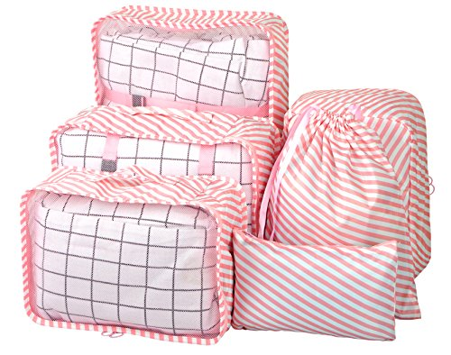 Vercord 6 Set Mesh Packing Cubes And Storage Bags Pack Travel Durable Luggage Organizers, Pink (Striped Shoe Organizer)