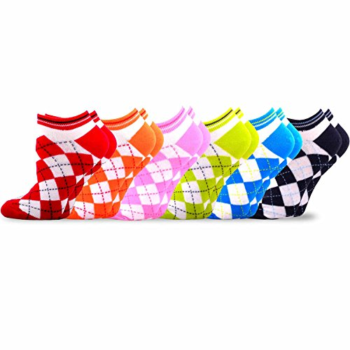 - TeeHee Women's Acrylic No Show Low Cut Basic 6-Pack (Argyle)