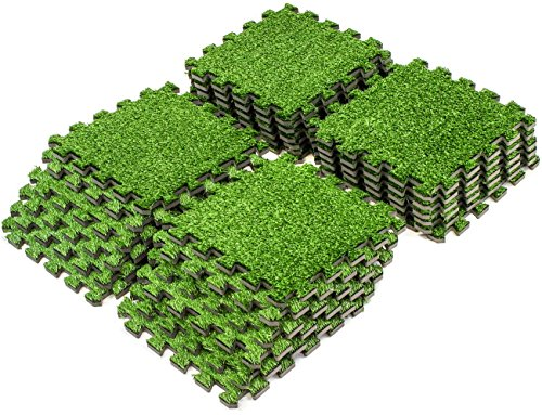 Sorbus Grass Mat Interlocking Floor Tiles – Soft Artificial Grass Carpet – Multipurpose Foam Tile Flooring – Great for Patio, Playroom, Gym, Tradeshow, 24 Sq ft (24 -