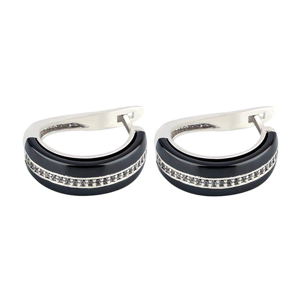 New Ceramic Round Stud Earring Fashion Crystal U Shape Women Jewelry Gift