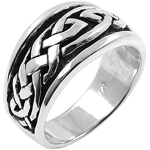 Large Tribal Celtic Braid - Silver Ring - Cross Sterling Silver Biker Ring