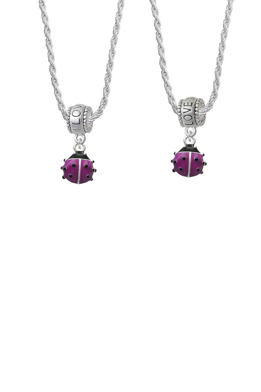 Delight Jewelry Mini Enamel Ladybug I Love You More Bead Necklace Set of 2