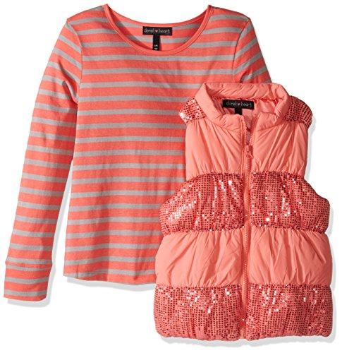 Derek Heart Girls' Big 2 Piece Set Puffy Vest with Sequin Trim and Long Sleeve Stripe T-Shirt, Sugar Coral/Lunar Rock m10/12
