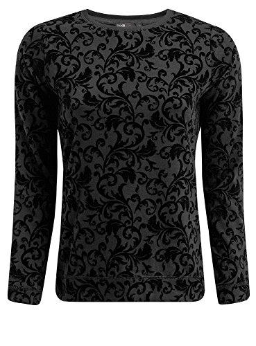 oodji Ultra Mujer Suéter con Estampado de Felpa Negro (2929E)