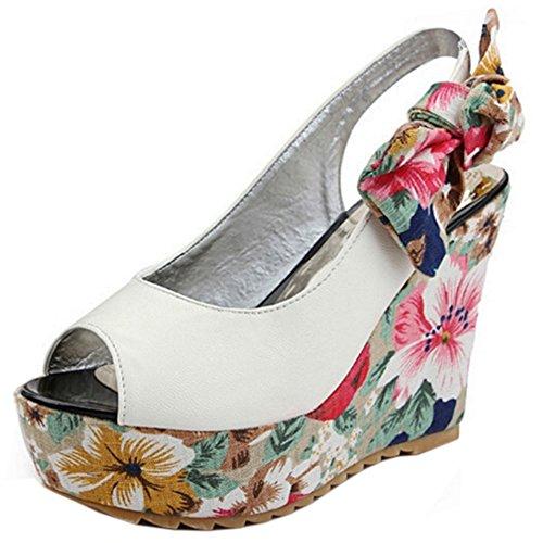 Heel Fashion TAOFFEN 757 Toe Wedges Sandals Peep On White High Women Slip Floral fag1OzaW