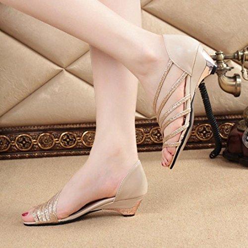 Sandalias para Mujer, RETUROM Zapatos bajos de la playa del verano de las cuñas de las mujeres vendedoras calientes Oro