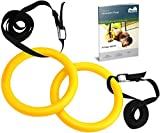 Reehut Gymnastic Rings W/ Adjustable Straps, Metal Buckles & Manual - Home Gym (Set of 2) - Non-Slip - Great For Workout, Strength Training, Fitness, Pull Ups and Dips Yellow
