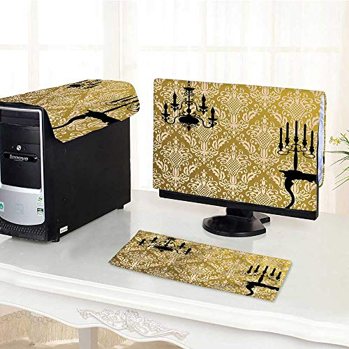 Desktop Computer Cover 3 Pieces English Country House Damask Motif On Wall and Chandelier Silhouettes Renaissance Decor Go Scratch Resistance /22""
