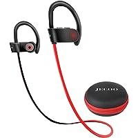 Jecoo Audífonos Bluetooth 4.2 Auriculares in Ear Estéreo Audífonos Deportivos a Resistente al Agua con Micrófono Incorporado para Ejercicio (Rojo)