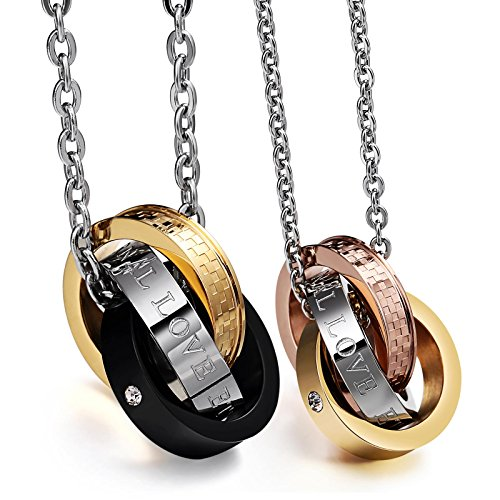 Aienid Stainless Steel Couple Necklace for Men and Women Eternal Love Pendant Neckalce with Chain by Aienid (Image #2)