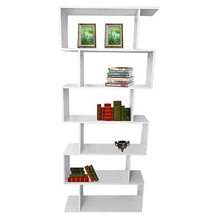 wooden bookcase furniture storage shelves shelving unit. 6-Tier Bookshelf,75.6\u0026quot; Tall Wooden Bookcase Storage Unit Modern  Display Shelf Cabinet Wooden Bookcase Furniture Storage Shelves Shelving Unit
