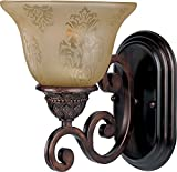 Maxim 11230SAOI Symphony 1-Light Wall Sconce Bath Vanity, Oil Rubbed Bronze Finish, Screen Amber Glass, MB Incandescent Incandescent Bulb , 100W Max., Damp Safety Rating, Standard Dimmable, Glass Shade Material, 4600 Rated Lumens