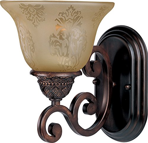 - Maxim 11230SAOI Symphony 1-Light Wall Sconce Bath Vanity, Oil Rubbed Bronze Finish, Screen Amber Glass, MB Incandescent Incandescent Bulb , 100W Max., Damp Safety Rating, Standard Dimmable, Glass Shade Material, 4600 Rated Lumens