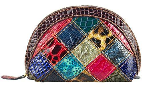 Sibalasi-Women Half Moon Waterproof Cosmetic Makeup Bag 4 Pcs/Set Light Weight Travel Handy Organizer Coin Purse Pouch Clutch bag Multicolor Wallet Set Makeup bag Coin bag (M pack)