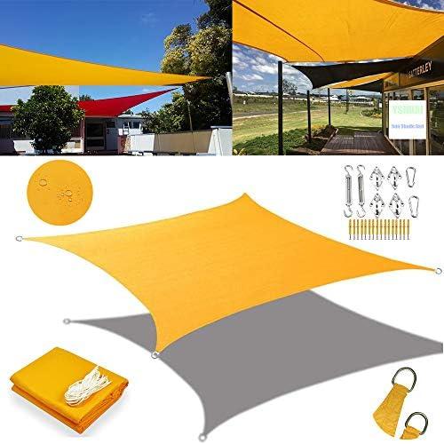 マンゴー黄色長方形の四角いシェード帆、防水、日焼け止め、UV保護、バルコニー、テラス、庭、中庭に使用,3X4m