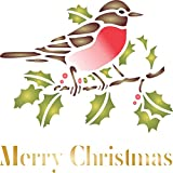 Christmas Robin Stencil (size 5'' x 5'') Reusable Stencils for Painting - Best Quality Christmas Card Project Ideas - Use on Walls, Floors, Fabrics, Glass, Wood, Cards, and More…