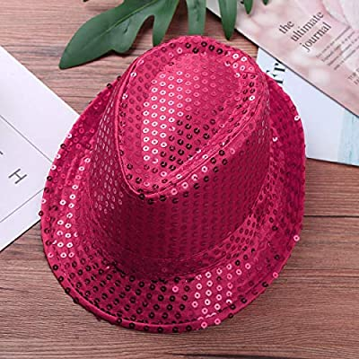 moily Unisex Kids Boys Girls Sequins Party Fedora Hat Hip Hop Modern Jazz Street Dance Performing Accessories Cap Rose Red One Size: Clothing