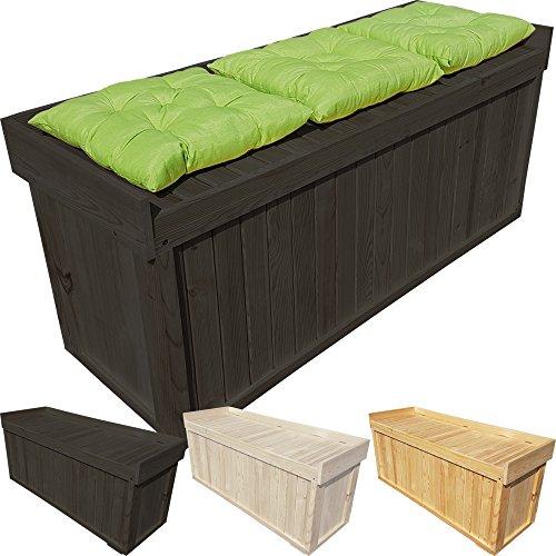 proheim Auflagen-Box mit Sitz aus 100% FSC Holz stabile Universal-Box Kissen-Box Sitzbank (1225 x 560 x 415 mm (L x H x T), Anthrazit)