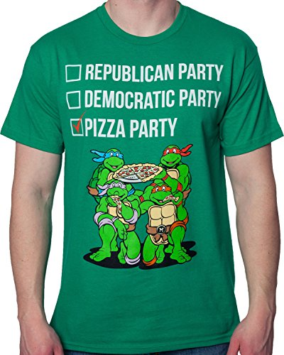 Freeze Men's TMNT Vote Pizza Party Teenage Mutant Ninja Turtles Shirt Kelly Green 2XL (Teenage Mutant Ninja Turtles Pizza Party Shirt)
