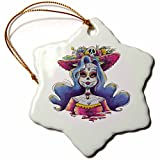 3dRose Sven Herkenrath Celebration - Cinco De Mayo Party Skull Head Mexican - 3 inch Snowflake Porcelain Ornament (orn_280346_1)