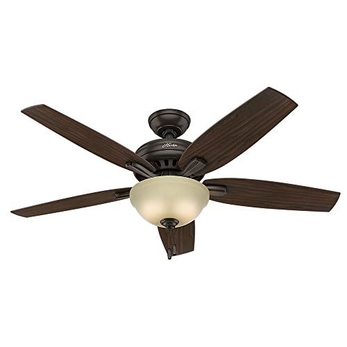 Hunter Indoor Ceiling Fan with light and pull chain control – Newsome 52 inch, Premier Bronze, 53311