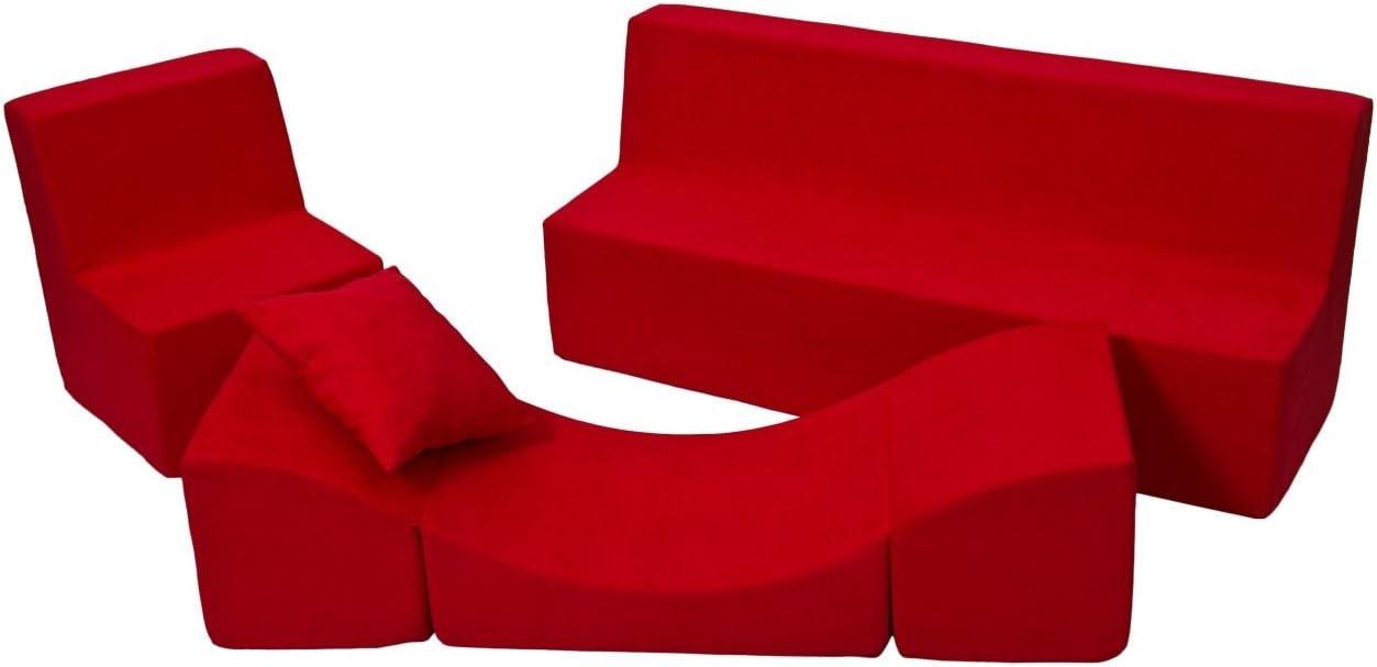 Fauteuil+canap/é+Pouf d/épliant Couleur: Rouge Velinda Ensemble de Meubles Enfant Chaise Longue