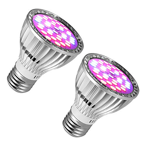 2 Pack 28 LEDs Grow Light, 7 Watt E27 Base Plant Light Bulb with Red & Blue Spectrum, Growing Lamp for Indoor Plant, Flower and Greenhouse, Perfect for Growing & Blooming