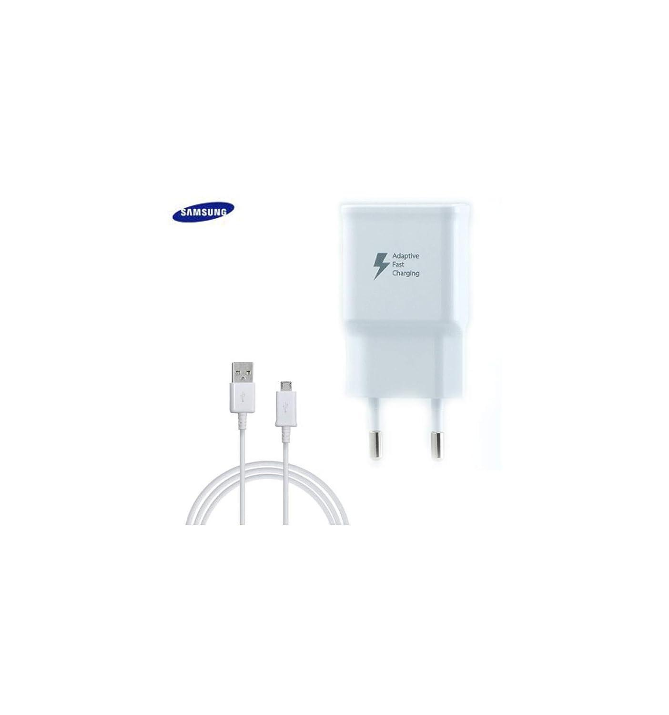Samsung TA20 Cargador Galaxy S7 Edge, Carga rápida, AFC 2 A, con Cable Micro USB de 1,5 m, Blanco