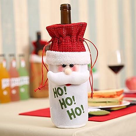 Gulin Conjunto de Botellas de Vino de Navidad, Santa Claus muñeco de Nieve Elk Botella de Cerveza Conjunto decoración de Navidad: Amazon.es: Electrónica