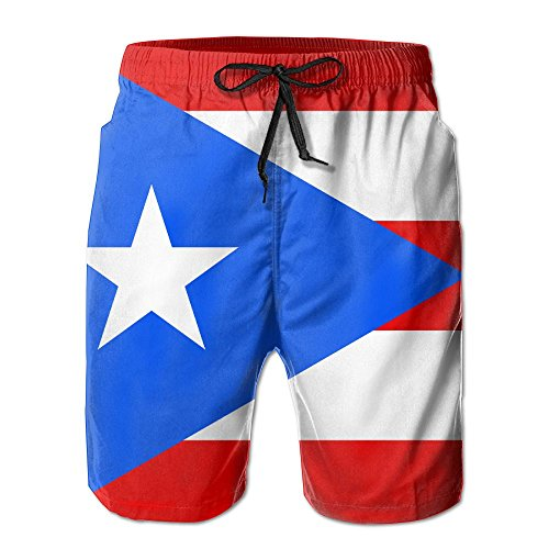 Flag Of Puerto Rico Mens Beach Trunks Beach Shorts Summer Vacation Board Shorts