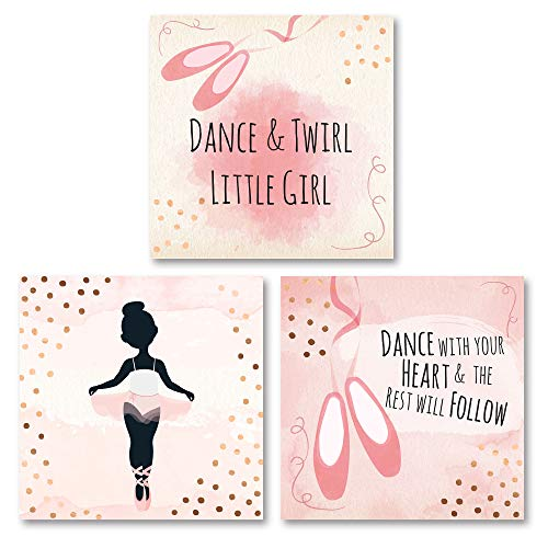 Adorable Black and Pink Dance & Twirl Little Girl and Dance with Your Heart The Rest Will Follow Ballerina Set; Nursery or Child's Room Decor; Three 12x12in Unframed Paper Posters ()