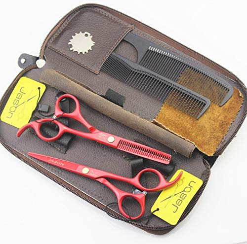 5.5 inch Professional Hair Cutting Scissors & Salon Blending Thinning Shears Scissors with Leather Bag for Barbershop from JASON