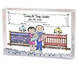 Personalized Friendly Folks Cartoon Snow Globe Frame Gift: New Baby, Twins - Girl & Boy Great for baby shower gift, birth announcement, nursery décor, keepsake