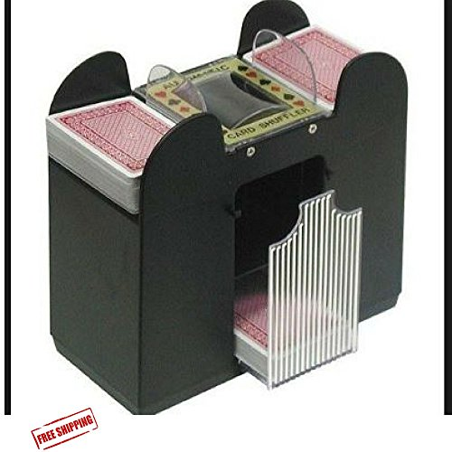 Automatic Playing Card Shuffler, Best Card Shuffler 6 Deck, Ideal For Blackjack-Poker Automatic Portable Card Shuffler,Battery Operated & Ebook Home Decor by AF