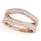 JewelMore 14K Rose Gold Ladies Diamond Ring Guard Wrap Enhancer Wedding Band (1/2 cttw, I-J/ I1-I2)
