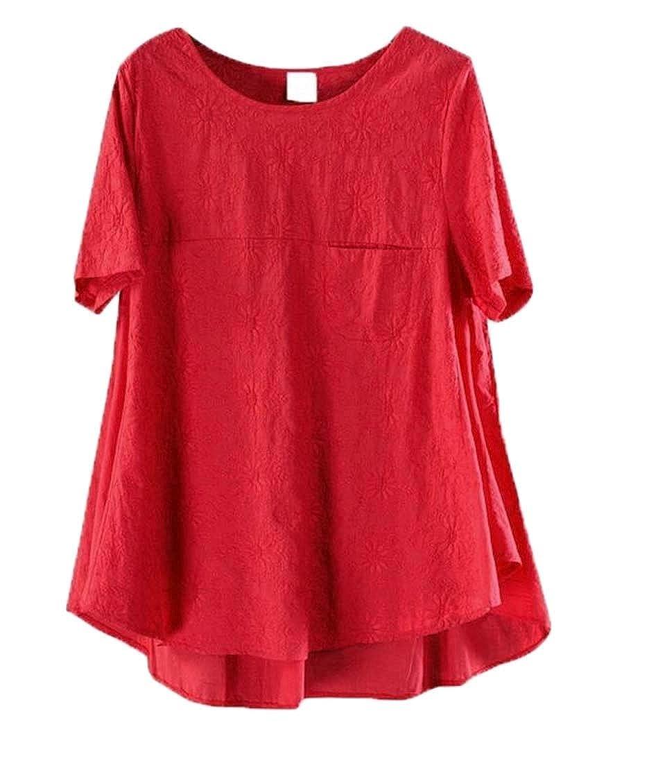 Hajotrawa Womens Cotton Linen Casual Short Sleeve Summer Blouse T-Shirts