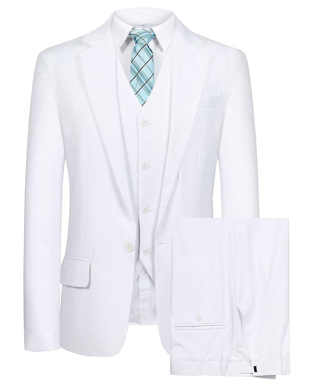 CMDC Men's Blazer 3 PC Notch Lapel One Button Wedding Dress Solid Suit Vest Pants