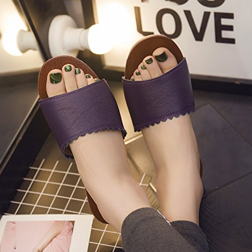 fankou Stay Current Couples Room Wooden Floors Thick Soft, Non-Slip Home Cool Slippers Slippers Summer Female,37-38, Purple