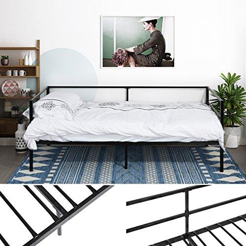 EGGREE Cama Metálica diván Cama Individual Marco de Cama para Niños Habitación Habitación Dormitorio Balcón Jardín Cama Negro: Amazon.es: Hogar