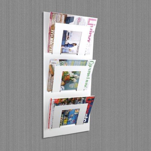 Wall Mounted Bathroom Magazine Rack - White Wall Mounted Magazine Rack by The Metal House by The Metal House