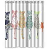 """Colourful Creative Cared Cats Back Shower Curtain Size 60""""x 72"""""""