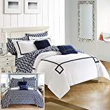 Chic Home CS2945-AN 9 Piece Reversible Comforter Bed in a Bag Greek Key Embroidered Pattern Modern Watercolor Technique Print Bedding, Navy, Queen