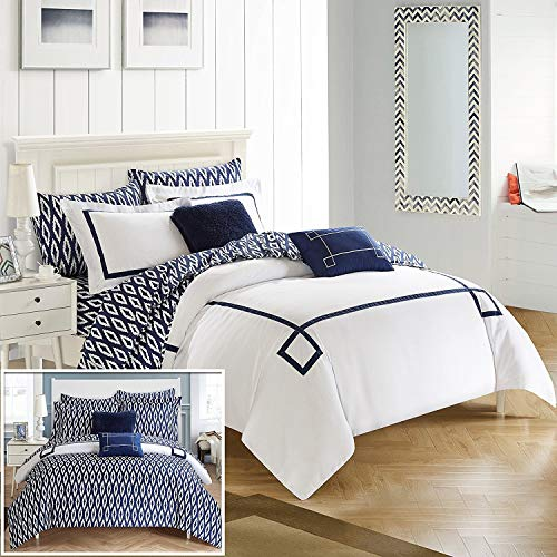 Chic Home Trace 9 Piece Reversible Comforter Bag Greek Key Embroidered Pattern Modern Watercolor Technique Print Bedding, King, Navy ()